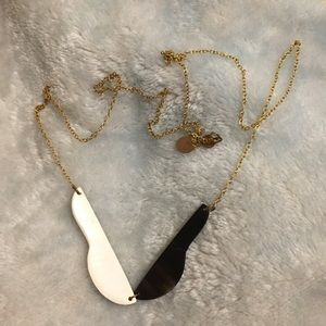 Jewelry - Long back and white geometric minimalist necklace